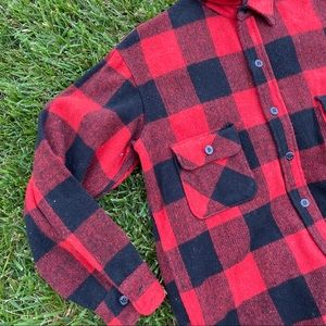 Vintage Jackets & Coats - Red buffalo plaid wool button up jacket